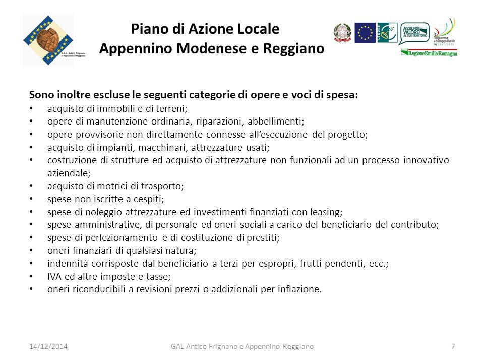 Piano di Azione Locale Appennino Modenese e Reggiano Settori di intervento.