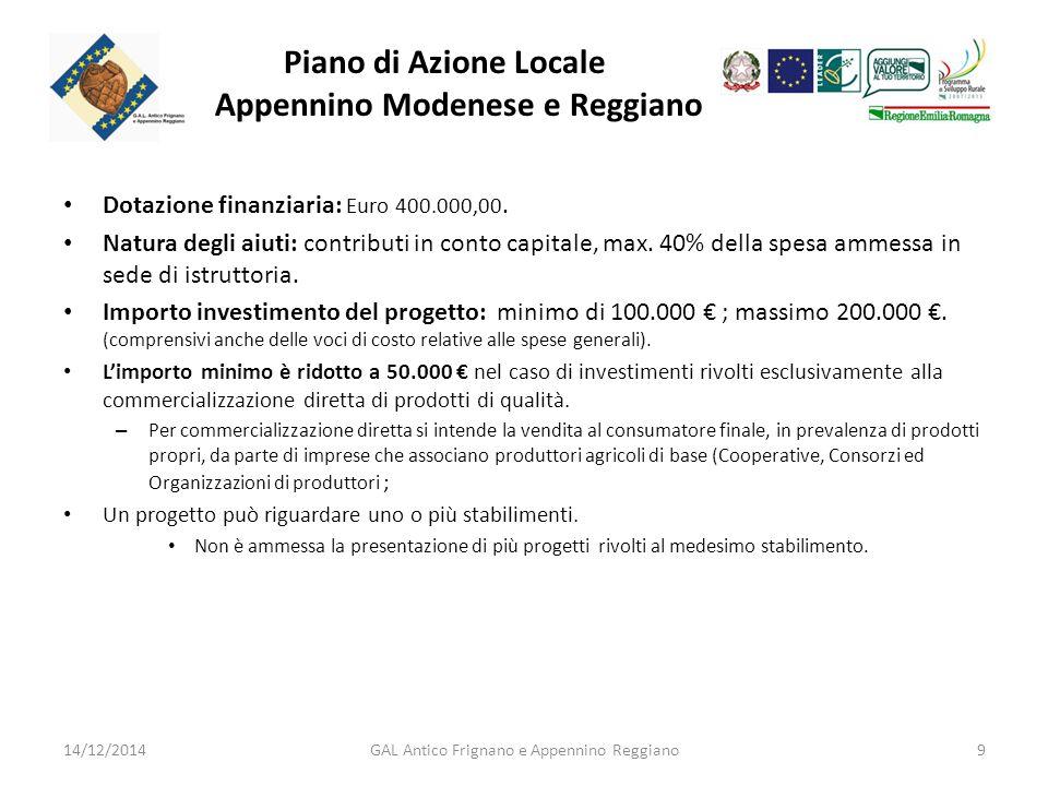 Piano di Azione Locale Appennino Modenese e Reggiano Dotazione finanziaria: Euro 400.000,00.