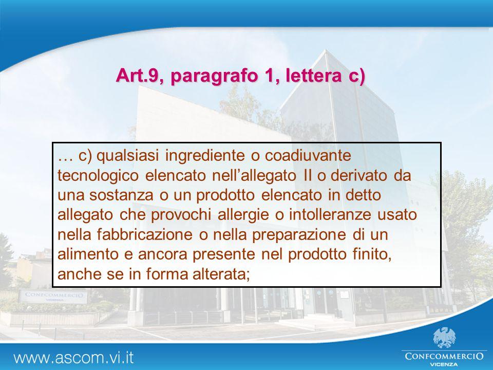 … c) qualsiasi ingrediente o coadiuvante tecnologico elencato nell'allegato II o derivato da una sostanza o un prodotto elencato in detto allegato che