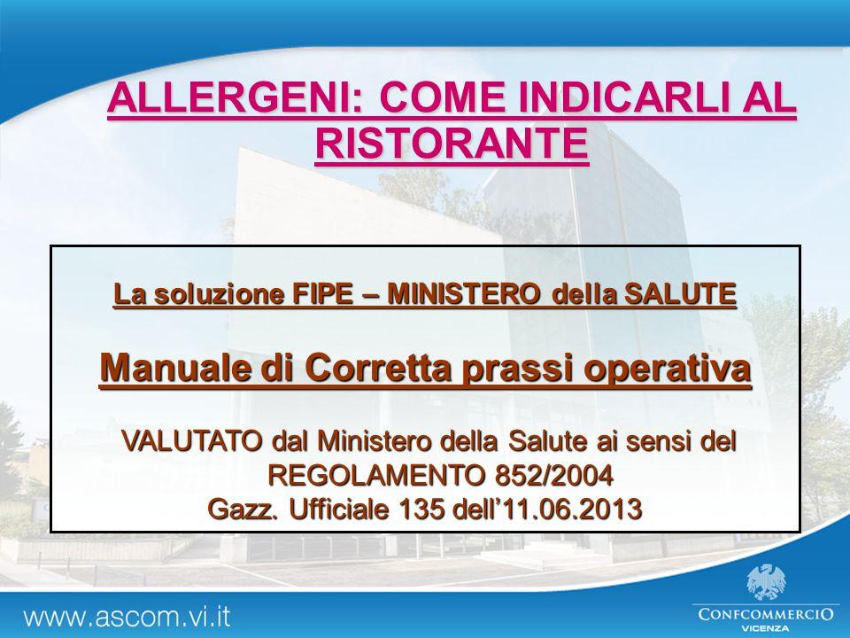 La soluzione FIPE – MINISTERO della SALUTE Manuale di Corretta prassi operativa VALUTATO dal Ministero della Salute ai sensi del REGOLAMENTO 852/2004