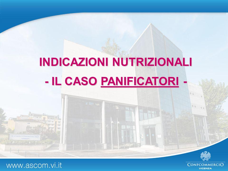 INDICAZIONI NUTRIZIONALI - IL CASO PANIFICATORI -