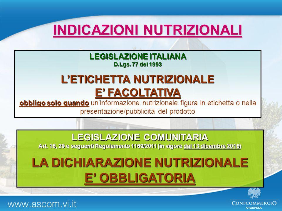 INDICAZIONI NUTRIZIONALI LEGISLAZIONE ITALIANA D.Lgs. 77 del 1993 L'ETICHETTA NUTRIZIONALE E' FACOLTATIVA obbligo solo quando obbligo solo quando un'i