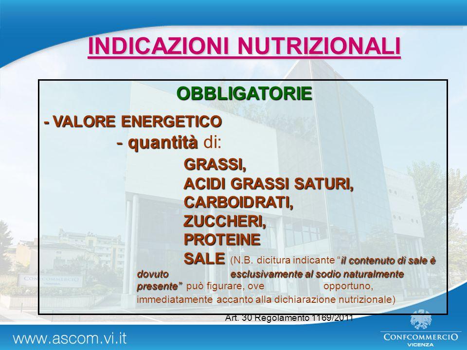 INDICAZIONI NUTRIZIONALI OBBLIGATORIE - VALORE ENERGETICO - quantità - quantità di:GRASSI, ACIDI GRASSI SATURI, CARBOIDRATI,ZUCCHERI,PROTEINE SALE il