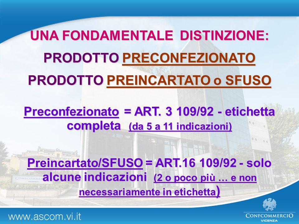 UNA FONDAMENTALE DISTINZIONE: PRODOTTO PRECONFEZIONATO PRODOTTO PREINCARTATO o SFUSO Preconfezionato = ART. 3 109/92 - etichetta completa (da 5 a 11 i