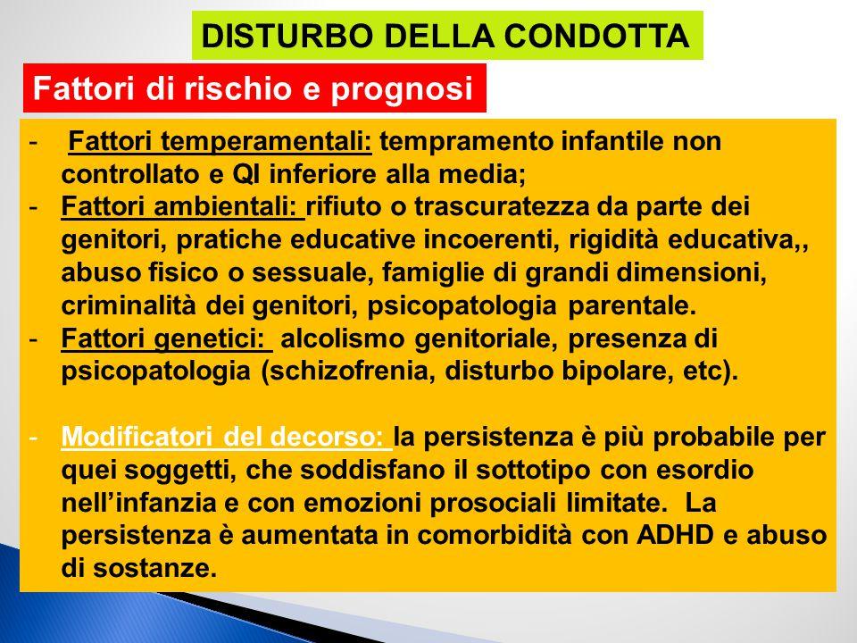 - Fattori temperamentali: tempramento infantile non controllato e QI inferiore alla media; -Fattori ambientali: rifiuto o trascuratezza da parte dei g