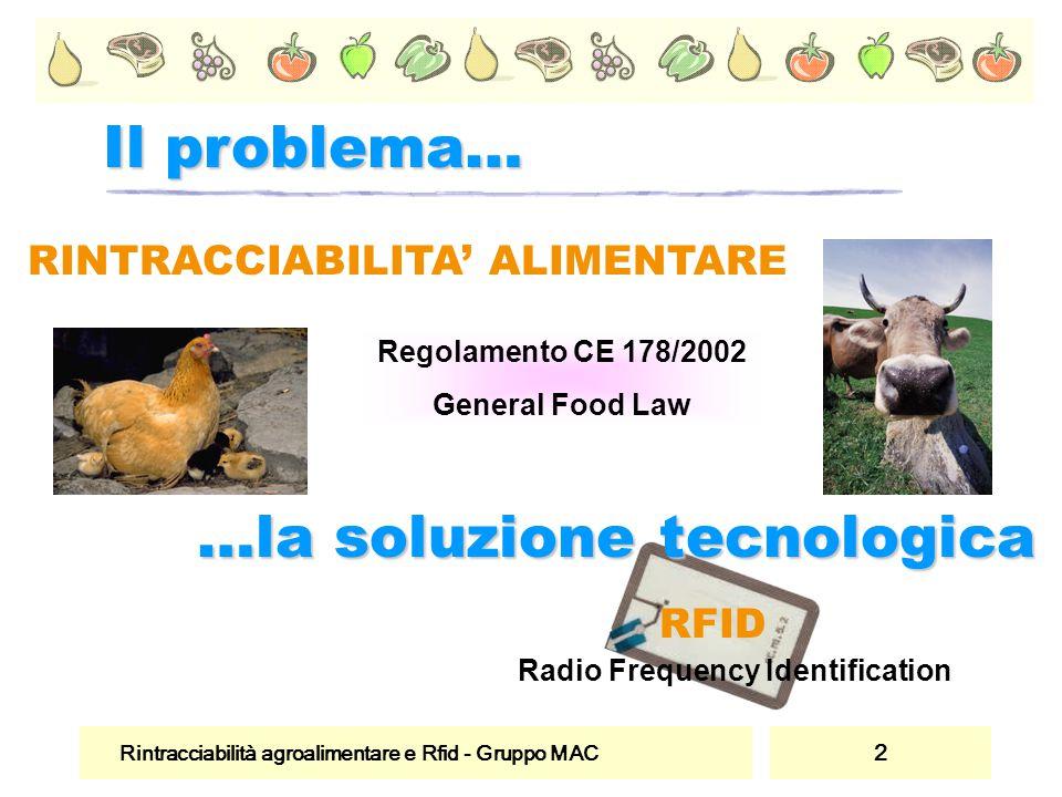 Rintracciabilità agroalimentare e Rfid - Gruppo MAC 2 RINTRACCIABILITA' ALIMENTARE Regolamento CE 178/2002 General Food Law RFID Radio Frequency Identification Il problema… …la soluzione tecnologica