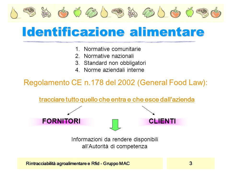 Rintracciabilità agroalimentare e Rfid - Gruppo MAC 3 Identificazione alimentare Regolamento CE n.178 del 2002 (General Food Law): tracciare tutto que