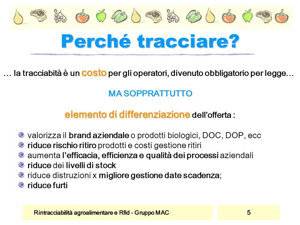 Rintracciabilità agroalimentare e Rfid - Gruppo MAC 5 Perché tracciare? costo … la tracciabità è un costo per gli operatori, divenuto obbligatorio per