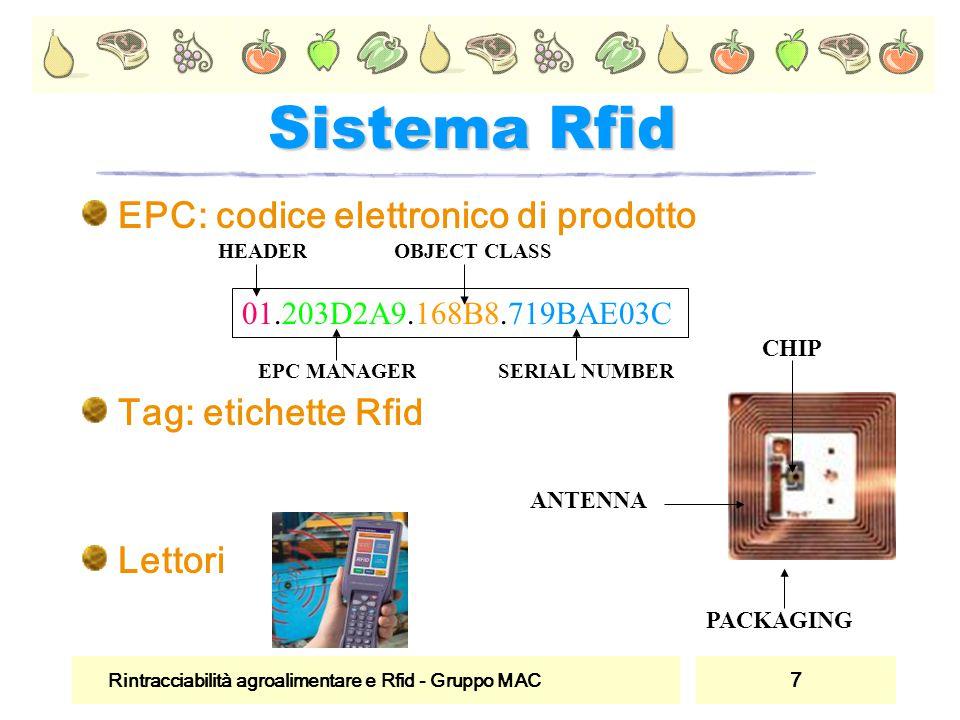 Rintracciabilità agroalimentare e Rfid - Gruppo MAC 7 Sistema Rfid EPC: codice elettronico di prodotto Tag: etichette Rfid Lettori CHIP ANTENNA PACKAG