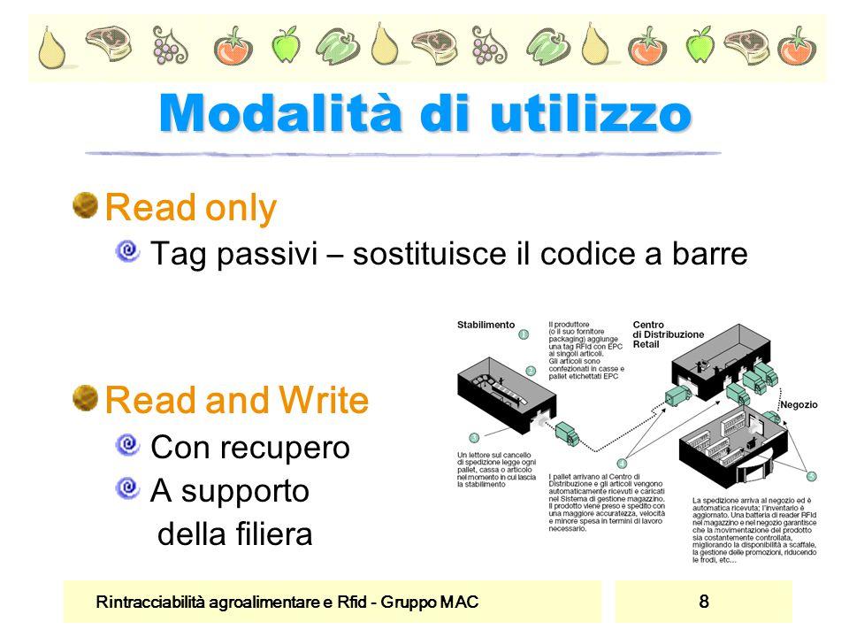 Rintracciabilità agroalimentare e Rfid - Gruppo MAC 8 Modalità di utilizzo Read only Tag passivi – sostituisce il codice a barre Read and Write Con re