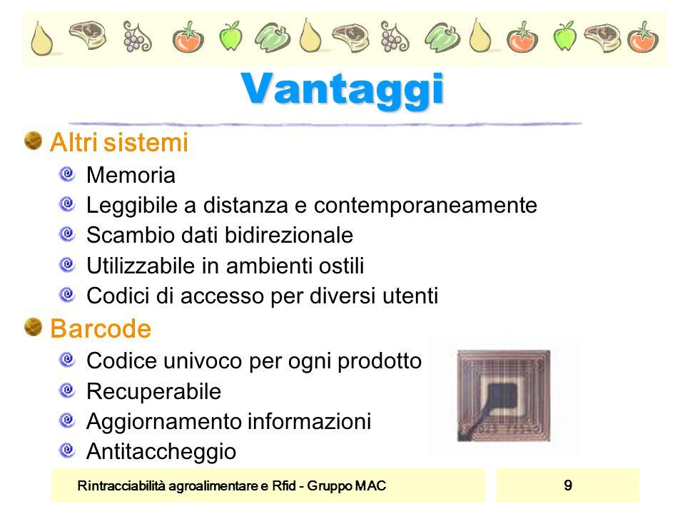 Rintracciabilità agroalimentare e Rfid - Gruppo MAC 9 Vantaggi Altri sistemi Memoria Leggibile a distanza e contemporaneamente Scambio dati bidirezion