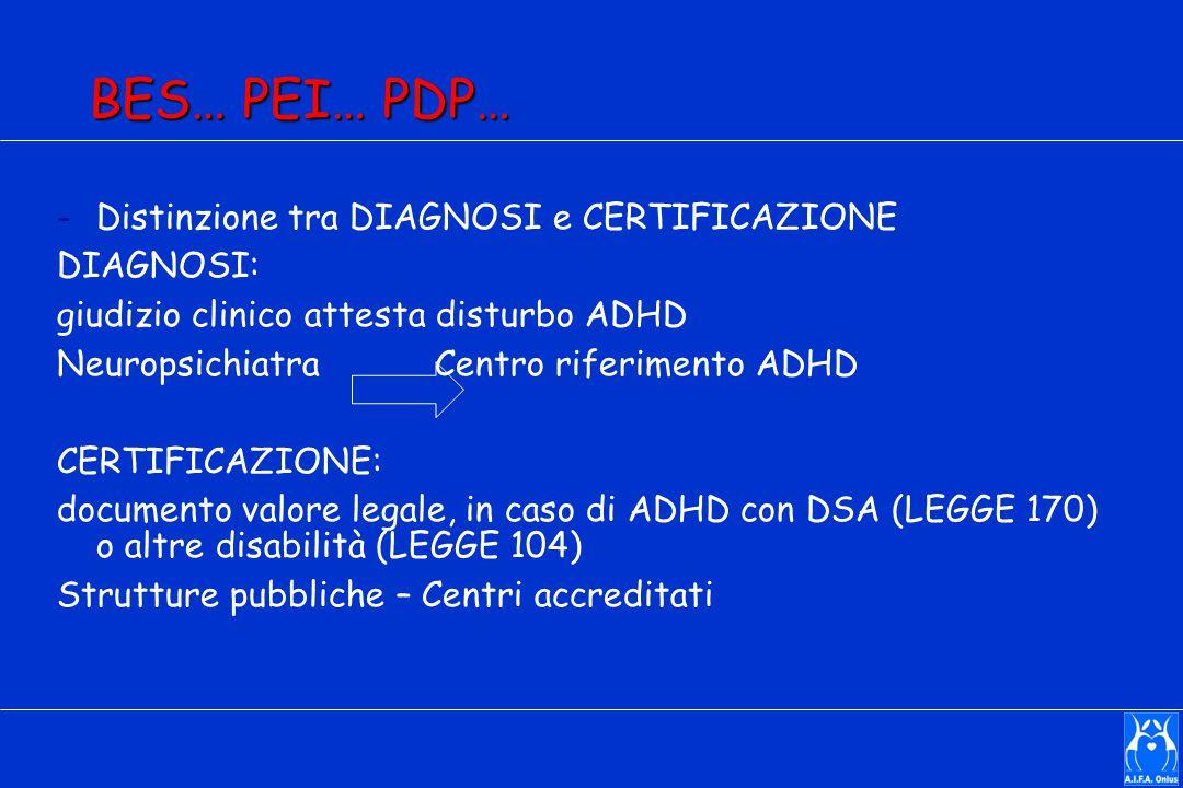 BES… PEI… PDP… -Distinzione tra DIAGNOSI e CERTIFICAZIONE DIAGNOSI: giudizio clinico attesta disturbo ADHD Neuropsichiatra Centro riferimento ADHD CERTIFICAZIONE: documento valore legale, in caso di ADHD con DSA (LEGGE 170) o altre disabilità (LEGGE 104) Strutture pubbliche – Centri accreditati