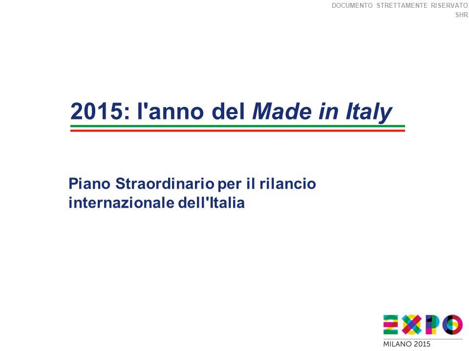DOCUMENTO STRETTAMENTE RISERVATO SHR Piano Straordinario per il rilancio internazionale dell Italia 2015: l anno del Made in Italy