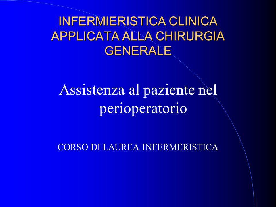 INFERMIERISTICA CLINICA APPLICATA ALLA CHIRURGIA GENERALE Assistenza al paziente nel perioperatorio CORSO DI LAUREA INFERMERISTICA