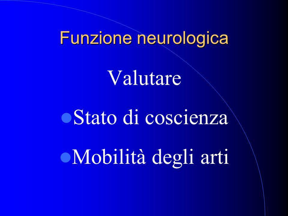 Funzione neurologica Valutare Stato di coscienza Mobilità degli arti
