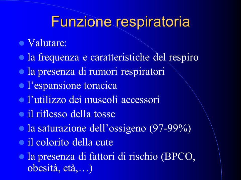 Funzione respiratoria Valutare: la frequenza e caratteristiche del respiro la presenza di rumori respiratori l'espansione toracica l'utilizzo dei muscoli accessori il riflesso della tosse la saturazione dell'ossigeno (97-99%) il colorito della cute la presenza di fattori di rischio (BPCO, obesità, età,…)