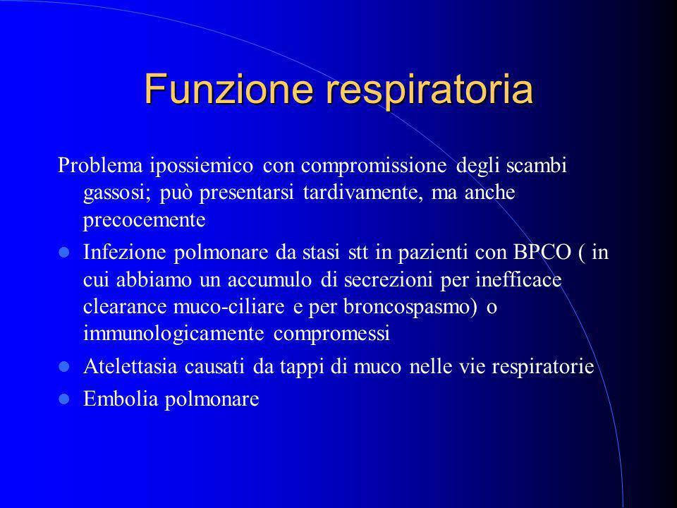 Funzione respiratoria Problema ipossiemico con compromissione degli scambi gassosi; può presentarsi tardivamente, ma anche precocemente Infezione polmonare da stasi stt in pazienti con BPCO ( in cui abbiamo un accumulo di secrezioni per inefficace clearance muco-ciliare e per broncospasmo) o immunologicamente compromessi Atelettasia causati da tappi di muco nelle vie respiratorie Embolia polmonare