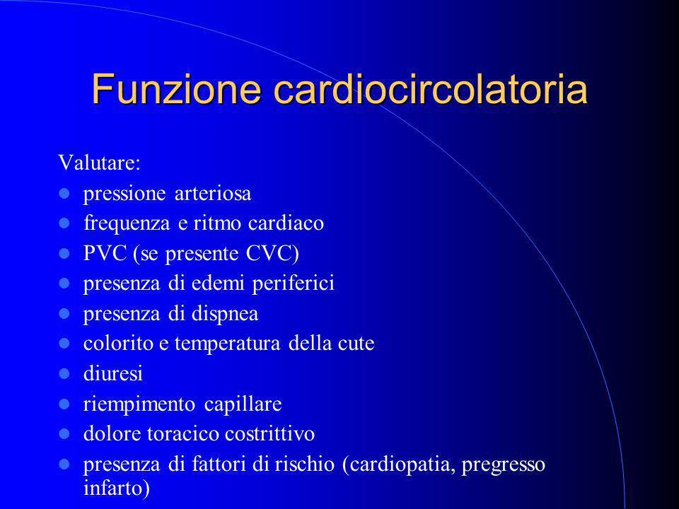 Funzione cardiocircolatoria Valutare: pressione arteriosa frequenza e ritmo cardiaco PVC (se presente CVC) presenza di edemi periferici presenza di dispnea colorito e temperatura della cute diuresi riempimento capillare dolore toracico costrittivo presenza di fattori di rischio (cardiopatia, pregresso infarto)