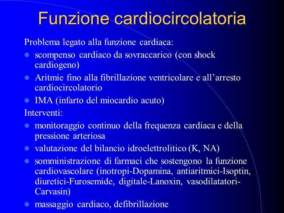 Funzione cardiocircolatoria Problema legato alla funzione cardiaca: scompenso cardiaco da sovraccarico (con shock cardiogeno) Aritmie fino alla fibrillazione ventricolare e all'arresto cardiocircolatorio IMA (infarto del miocardio acuto) Interventi: monitoraggio continuo della frequenza cardiaca e della pressione arteriosa valutazione del bilancio idroelettrolitico (K, NA) somministrazione di farmaci che sostengono la funzione cardiovascolare (inotropi-Dopamina, antiaritmici-Isoptin, diuretici-Furosemide, digitale-Lanoxin, vasodilatatori- Carvasin) massaggio cardiaco, defibrillazione