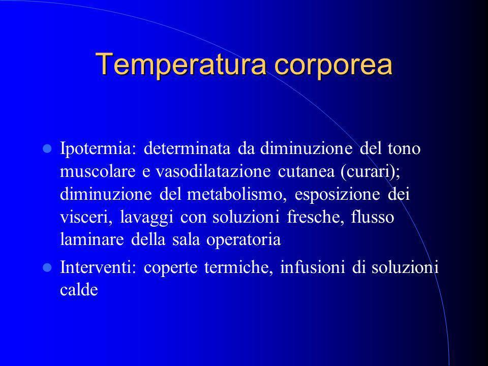 Temperatura corporea Ipotermia: determinata da diminuzione del tono muscolare e vasodilatazione cutanea (curari); diminuzione del metabolismo, esposizione dei visceri, lavaggi con soluzioni fresche, flusso laminare della sala operatoria Interventi: coperte termiche, infusioni di soluzioni calde
