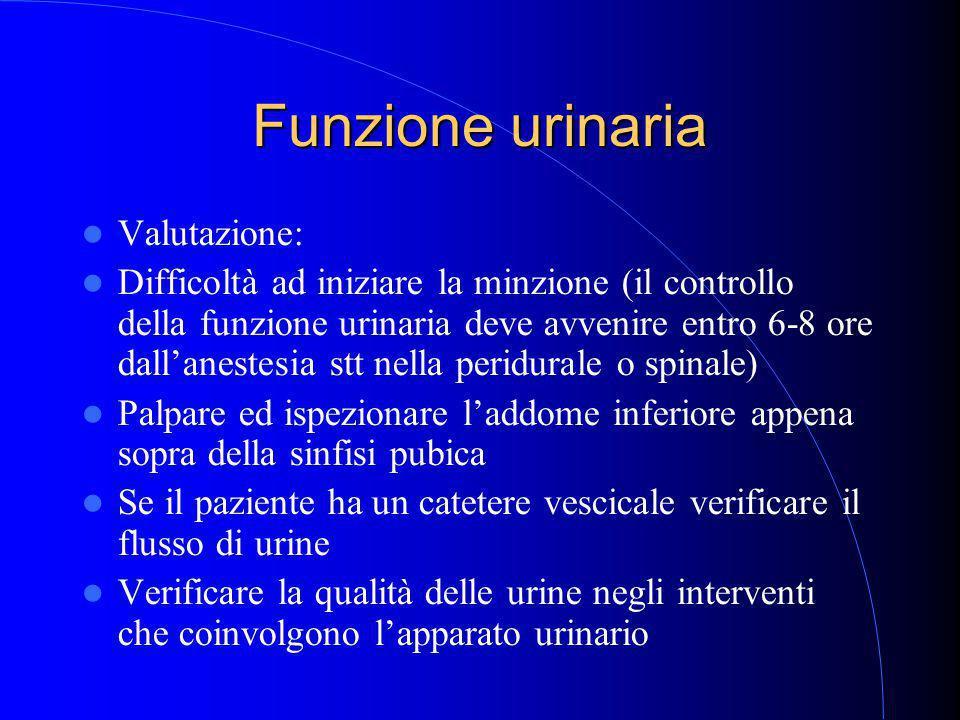 Funzione urinaria Valutazione: Difficoltà ad iniziare la minzione (il controllo della funzione urinaria deve avvenire entro 6-8 ore dall'anestesia stt nella peridurale o spinale) Palpare ed ispezionare l'addome inferiore appena sopra della sinfisi pubica Se il paziente ha un catetere vescicale verificare il flusso di urine Verificare la qualità delle urine negli interventi che coinvolgono l'apparato urinario