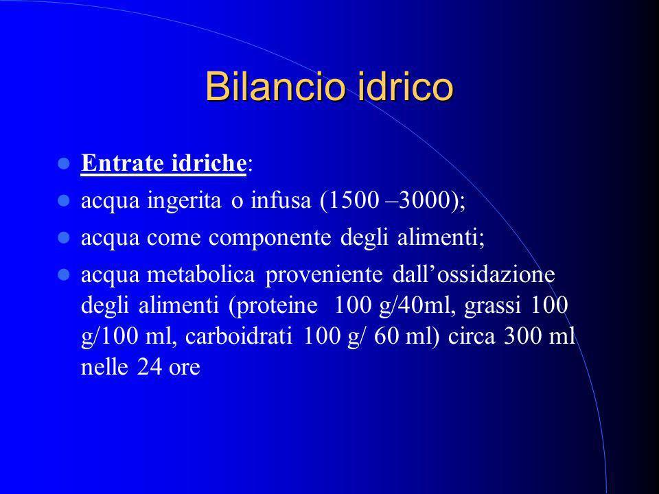Bilancio idrico Entrate idriche: acqua ingerita o infusa (1500 –3000); acqua come componente degli alimenti; acqua metabolica proveniente dall'ossidazione degli alimenti (proteine 100 g/40ml, grassi 100 g/100 ml, carboidrati 100 g/ 60 ml) circa 300 ml nelle 24 ore