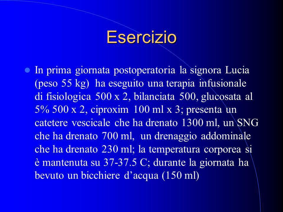 Esercizio In prima giornata postoperatoria la signora Lucia (peso 55 kg) ha eseguito una terapia infusionale di fisiologica 500 x 2, bilanciata 500, glucosata al 5% 500 x 2, ciproxim 100 ml x 3; presenta un catetere vescicale che ha drenato 1300 ml, un SNG che ha drenato 700 ml, un drenaggio addominale che ha drenato 230 ml; la temperatura corporea si è mantenuta su 37-37.5 C; durante la giornata ha bevuto un bicchiere d'acqua (150 ml)
