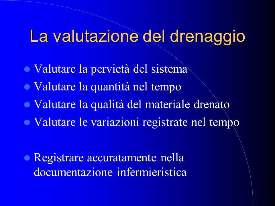 La valutazione del drenaggio Valutare la pervietà del sistema Valutare la quantità nel tempo Valutare la qualità del materiale drenato Valutare le variazioni registrate nel tempo Registrare accuratamente nella documentazione infermieristica