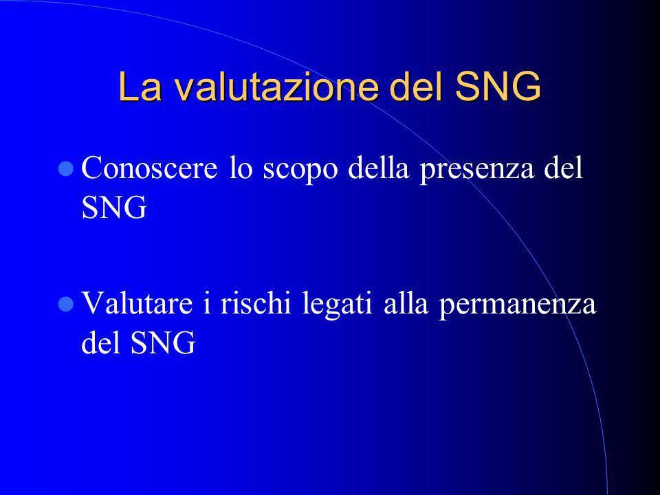 La valutazione del SNG Conoscere lo scopo della presenza del SNG Valutare i rischi legati alla permanenza del SNG