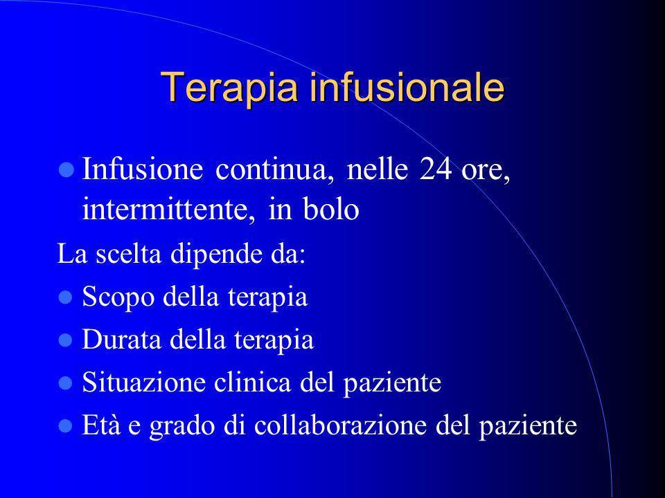 Terapia infusionale Infusione continua, nelle 24 ore, intermittente, in bolo La scelta dipende da: Scopo della terapia Durata della terapia Situazione clinica del paziente Età e grado di collaborazione del paziente