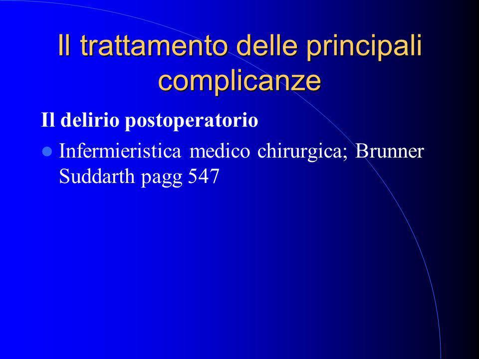 Il trattamento delle principali complicanze Il delirio postoperatorio Infermieristica medico chirurgica; Brunner Suddarth pagg 547