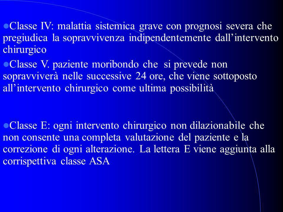 Classe IV: malattia sistemica grave con prognosi severa che pregiudica la sopravvivenza indipendentemente dall'intervento chirurgico Classe V.