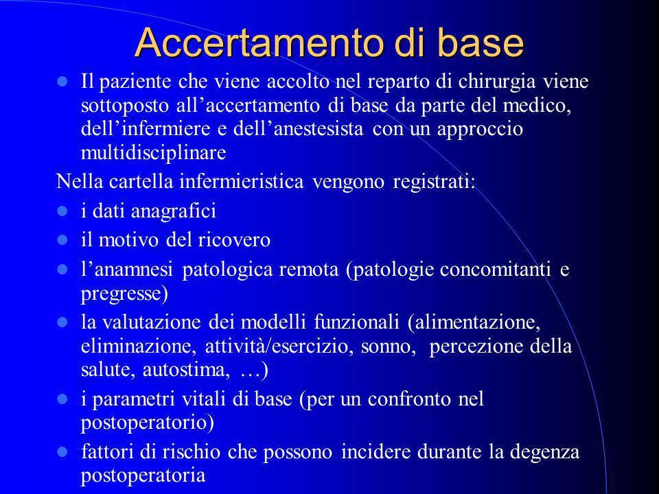 Accertamento di base Il paziente che viene accolto nel reparto di chirurgia viene sottoposto all'accertamento di base da parte del medico, dell'infermiere e dell'anestesista con un approccio multidisciplinare Nella cartella infermieristica vengono registrati: i dati anagrafici il motivo del ricovero l'anamnesi patologica remota (patologie concomitanti e pregresse) la valutazione dei modelli funzionali (alimentazione, eliminazione, attività/esercizio, sonno, percezione della salute, autostima, …) i parametri vitali di base (per un confronto nel postoperatorio) fattori di rischio che possono incidere durante la degenza postoperatoria
