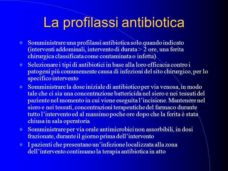 La profilassi antibiotica Somministrare una profilassi antibiotica solo quando indicato (interventi addominali, intervento di durata > 2 ore, una ferita chirurgica classificata come contaminata o infetta) Selezionare i tipi di antibiotici in base alla loro efficacia contro i patogeni più comunemente causa di infezioni del sito chirurgico, per lo specifico intervento Somministrare la dose iniziale di antibiotico per via venosa, in modo tale che ci sia una concentrazione battericida nel siero e nei tessuti del paziente nel momento in cui viene eseguita l'incisione.