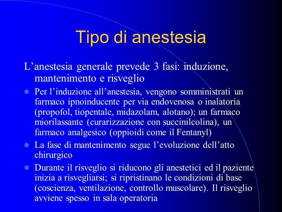 Tipo di anestesia L'anestesia generale prevede 3 fasi: induzione, mantenimento e risveglio Per l'induzione all'anestesia, vengono somministrati un farmaco ipnoinducente per via endovenosa o inalatoria (propofol, tiopentale, midazolam, alotano); un farmaco miorilassante (curarizzazione con succinilcolina), un farmaco analgesico (oppioidi come il Fentanyl) La fase di mantenimento segue l'evoluzione dell'atto chirurgico Durante il risveglio si riducono gli anestetici ed il paziente inizia a risvegliarsi; si ripristinano le condizioni di base (coscienza, ventilazione, controllo muscolare).