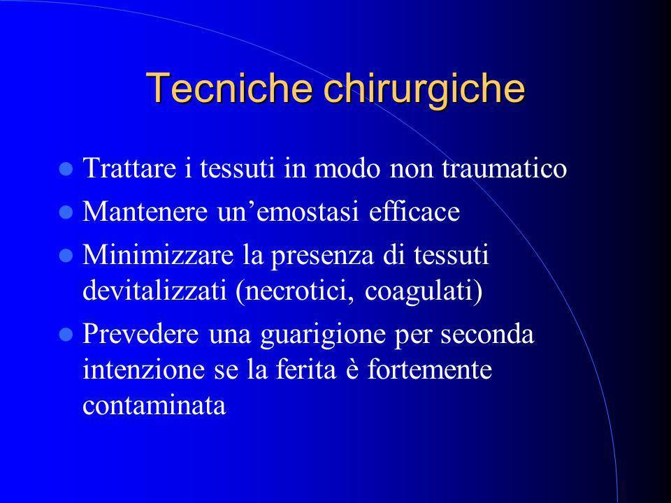Tecniche chirurgiche Trattare i tessuti in modo non traumatico Mantenere un'emostasi efficace Minimizzare la presenza di tessuti devitalizzati (necrotici, coagulati) Prevedere una guarigione per seconda intenzione se la ferita è fortemente contaminata