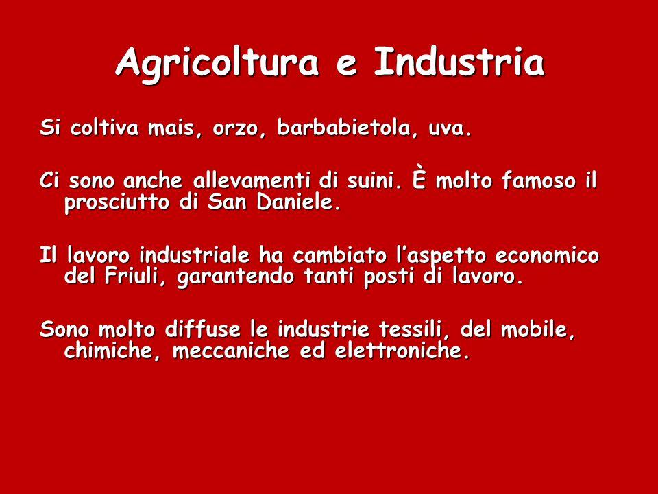 Agricoltura e Industria Si coltiva mais, orzo, barbabietola, uva.