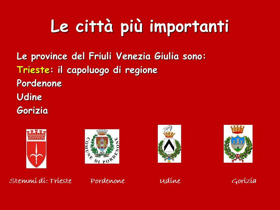 Le città più importanti Le province del Friuli Venezia Giulia sono: Trieste: il capoluogo di regione PordenoneUdineGorizia Stemmi di: Trieste Pordenone Udine Gorizia