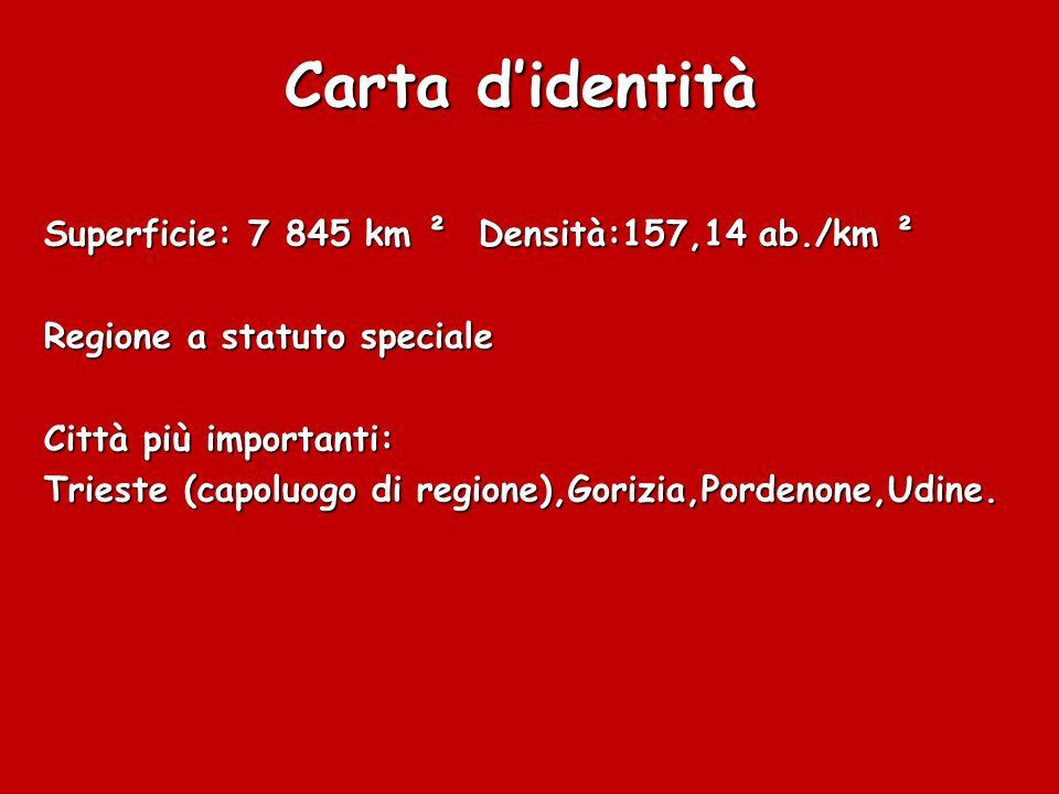 Carta d'identità Superficie: 7 845 km ² Densità:157,14 ab./km ² Regione a statuto speciale Città più importanti: Trieste (capoluogo di regione),Gorizia,Pordenone,Udine.