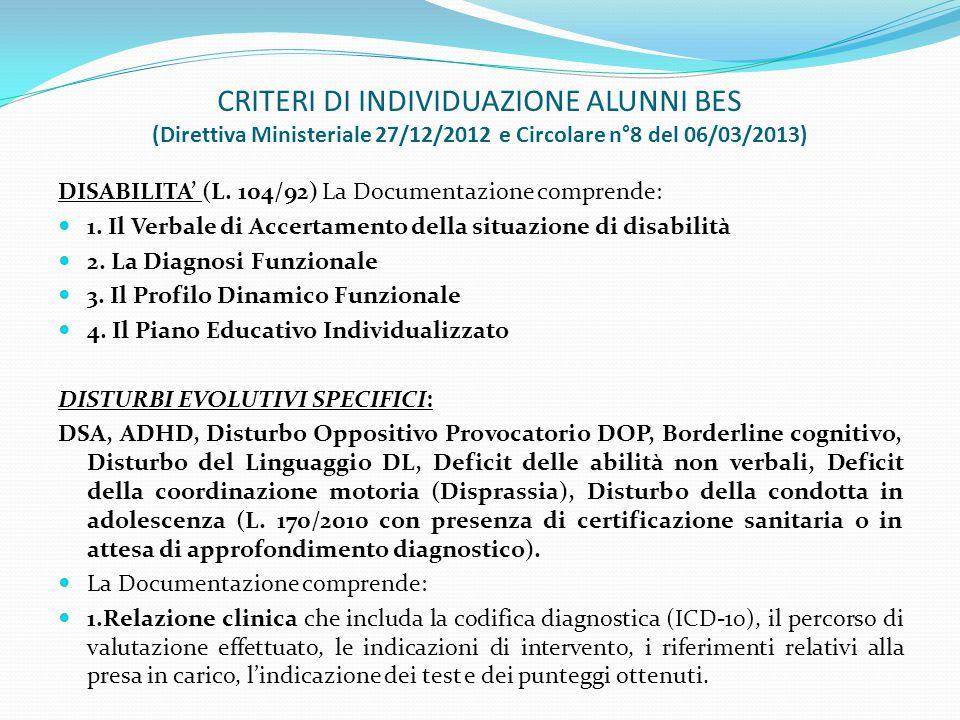 CRITERI DI INDIVIDUAZIONE ALUNNI BES (Direttiva Ministeriale 27/12/2012 e Circolare n°8 del 06/03/2013) DISABILITA' (L. 104/92) La Documentazione comp