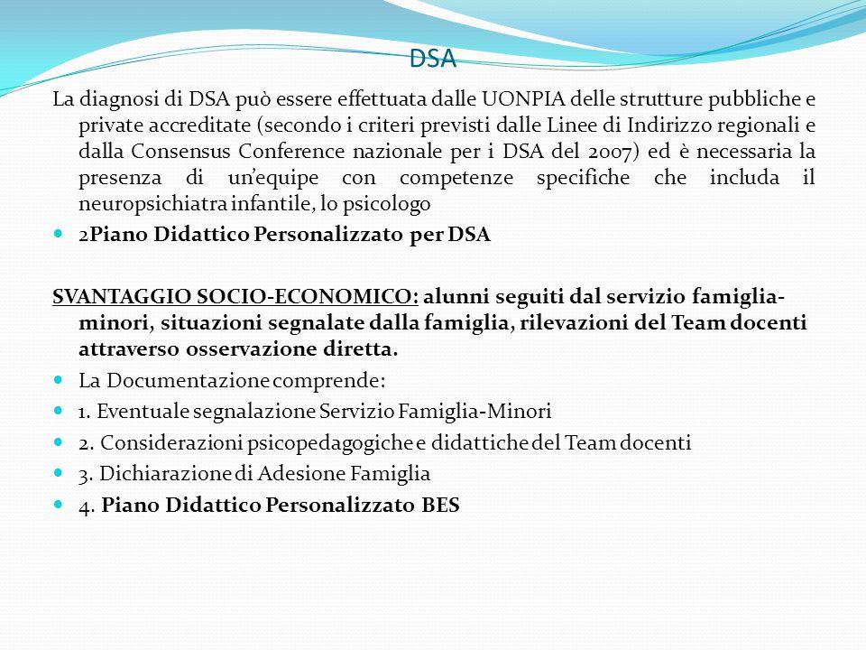 DSA La diagnosi di DSA può essere effettuata dalle UONPIA delle strutture pubbliche e private accreditate (secondo i criteri previsti dalle Linee di I