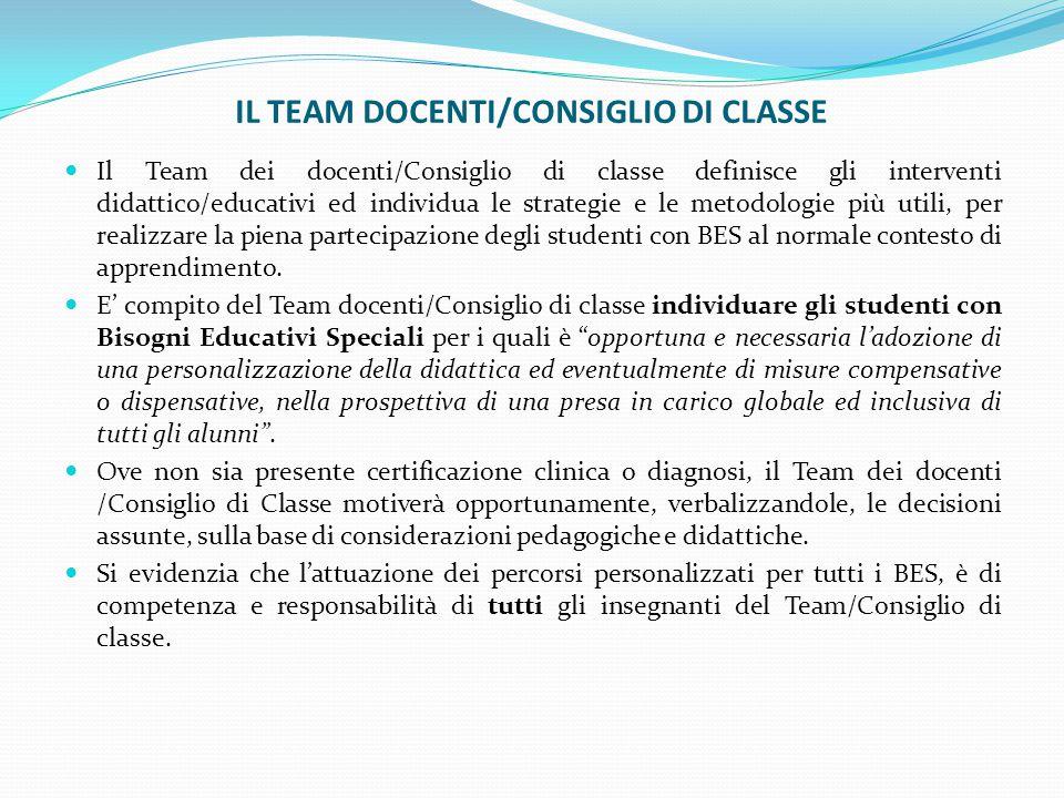 IL TEAM DOCENTI/CONSIGLIO DI CLASSE Il Team dei docenti/Consiglio di classe definisce gli interventi didattico/educativi ed individua le strategie e l