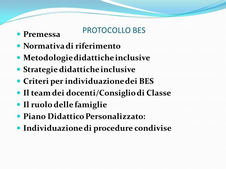 PROTOCOLLO BES Premessa Normativa di riferimento Metodologie didattiche inclusive Strategie didattiche inclusive Criteri per individuazione dei BES Il