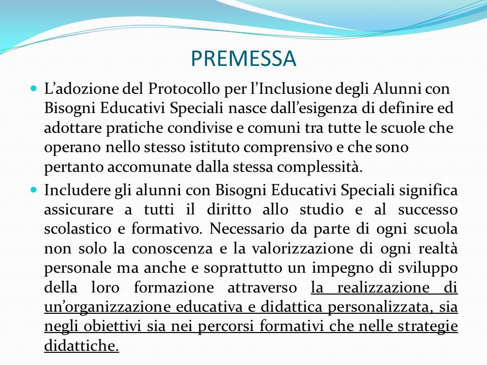 PREMESSA L'adozione del Protocollo per l'Inclusione degli Alunni con Bisogni Educativi Speciali nasce dall'esigenza di definire ed adottare pratiche c