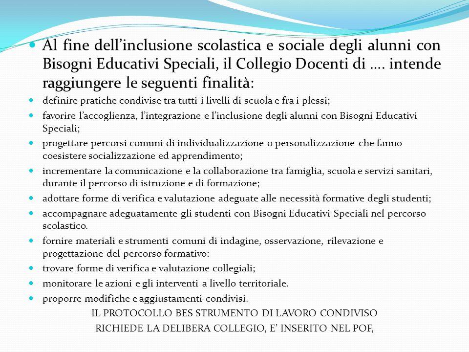 Al fine dell'inclusione scolastica e sociale degli alunni con Bisogni Educativi Speciali, il Collegio Docenti di …. intende raggiungere le seguenti fi