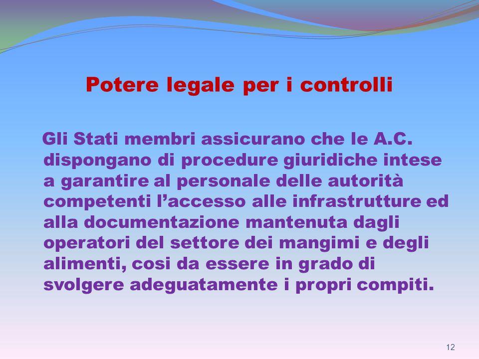 Potere legale per i controlli Gli Stati membri assicurano che le A.C.