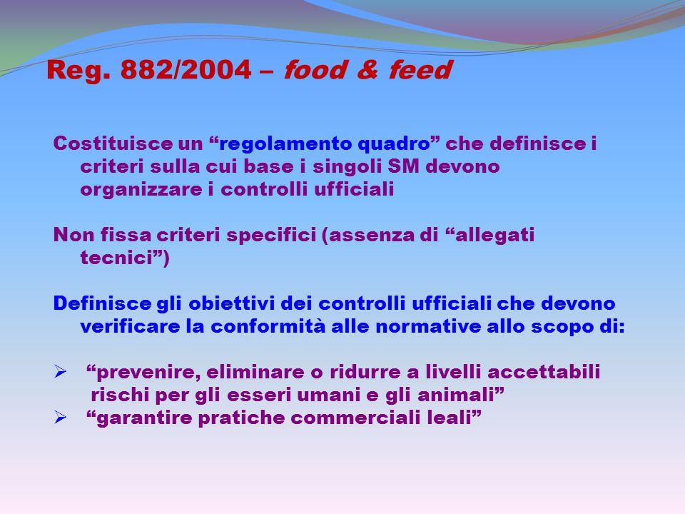 """Reg. 882/2004 – food & feed Costituisce un """"regolamento quadro"""" che definisce i criteri sulla cui base i singoli SM devono organizzare i controlli uff"""