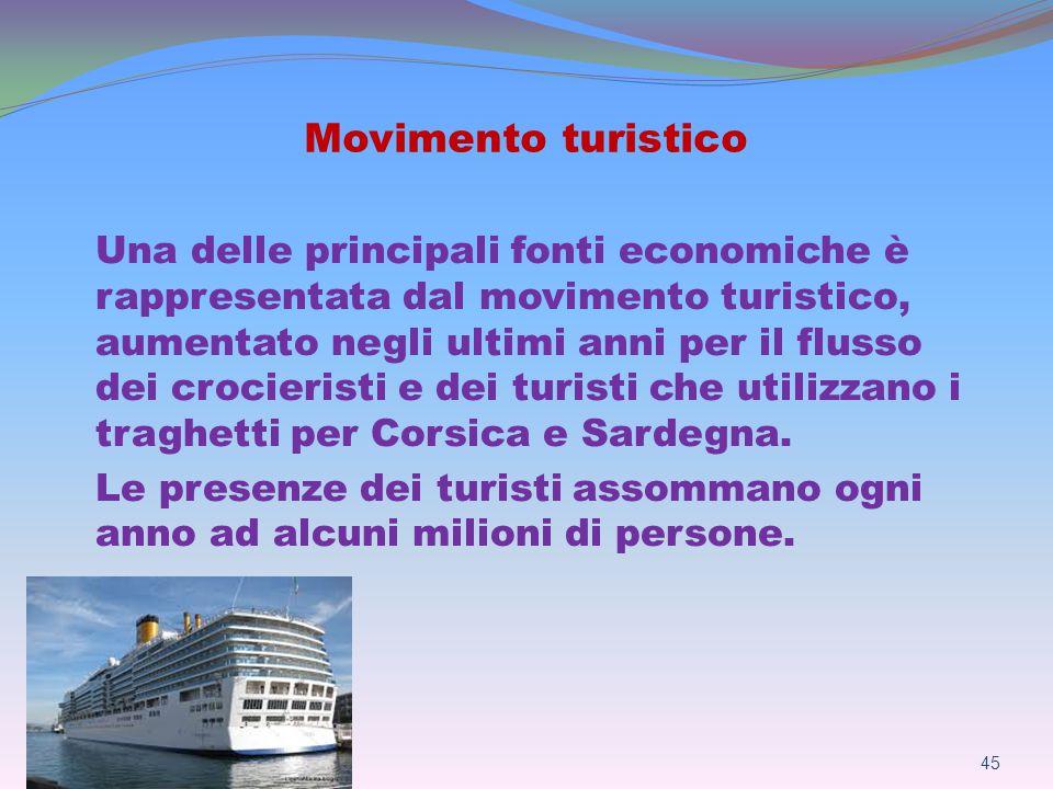 Movimento turistico Una delle principali fonti economiche è rappresentata dal movimento turistico, aumentato negli ultimi anni per il flusso dei crocieristi e dei turisti che utilizzano i traghetti per Corsica e Sardegna.