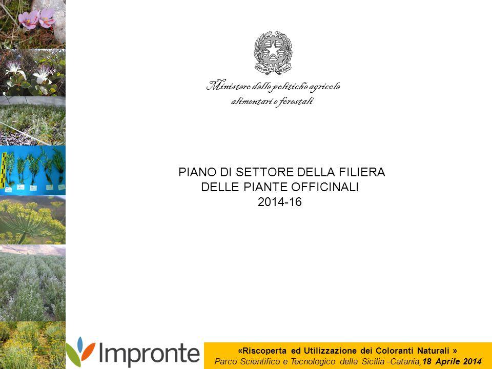 «Riscoperta ed Utilizzazione dei Coloranti Naturali » Parco Scientifico e Tecnologico della Sicilia -Catania,18 Aprile 2014 Ministero delle politiche