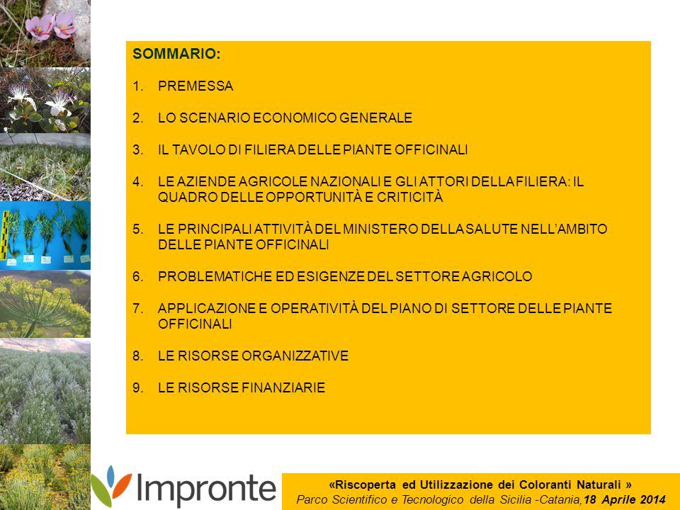 «Riscoperta ed Utilizzazione dei Coloranti Naturali » Parco Scientifico e Tecnologico della Sicilia -Catania,18 Aprile 2014 SOMMARIO: 1.PREMESSA 2.LO